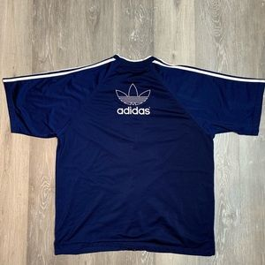 Vintage adidas striped embroidered logo jersey